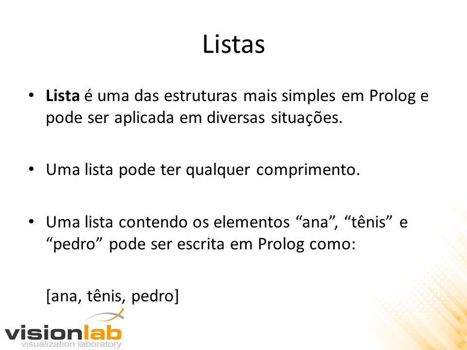 Listas Lista é uma das estruturas mais simples em Prolog e pode ser aplicada em diversas situações.