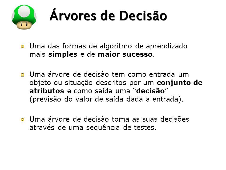 Árvores de Decisão Uma das formas de algoritmo de aprendizado mais simples e de maior sucesso.