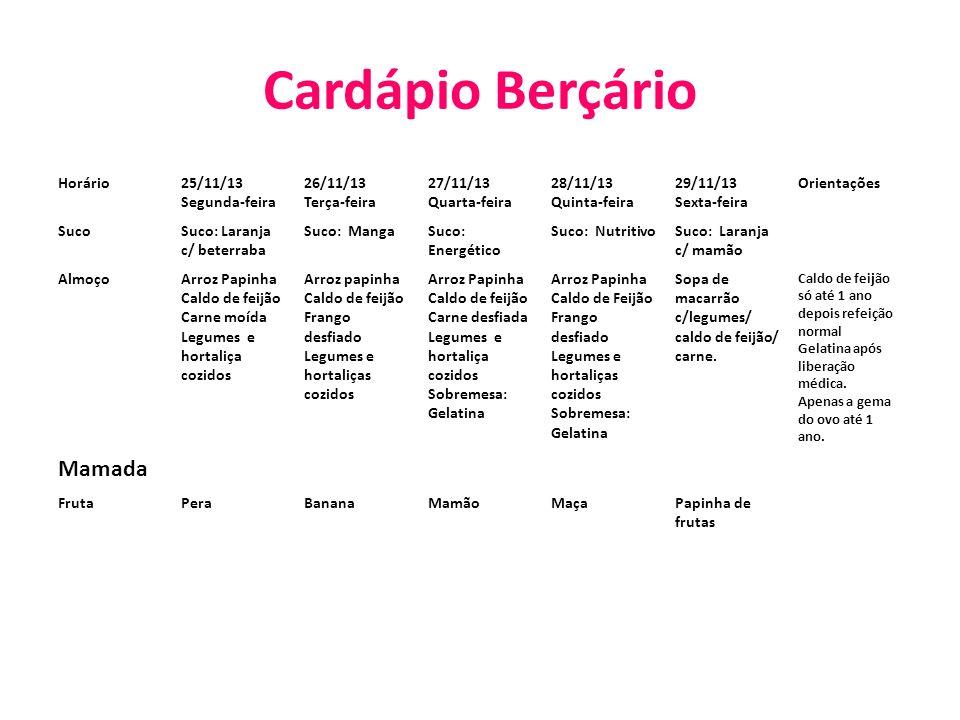 Cardápio Berçário Mamada Horário 25/11/13 Segunda-feira