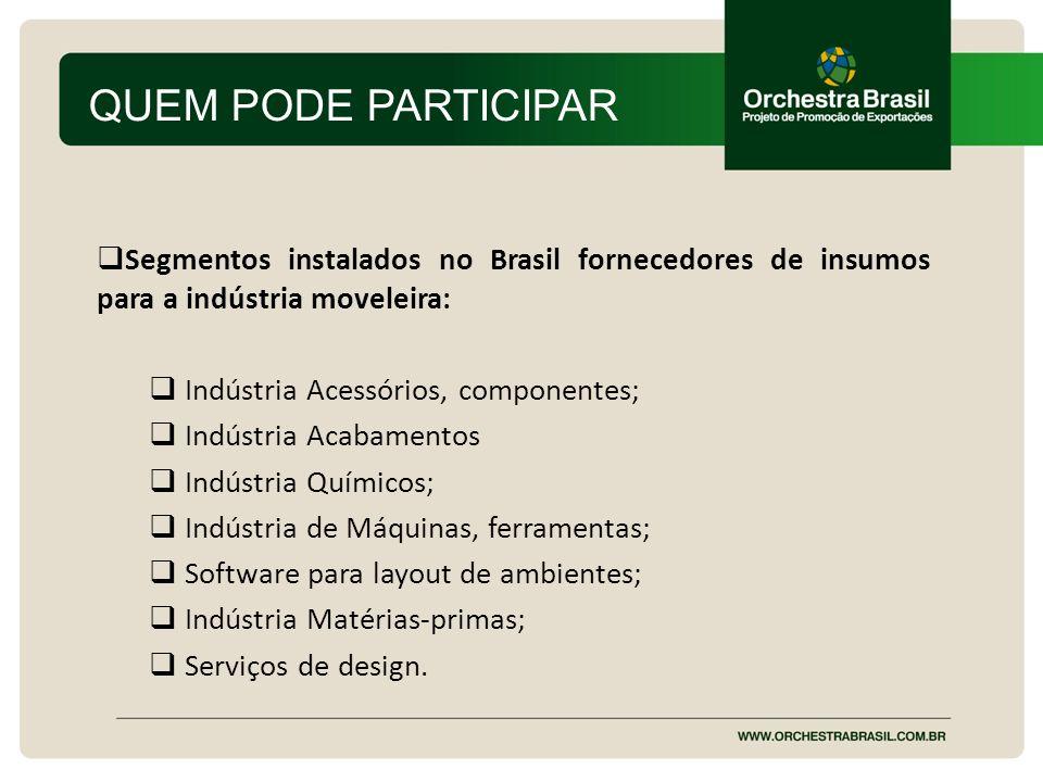 QUEM PODE PARTICIPAR Segmentos instalados no Brasil fornecedores de insumos para a indústria moveleira: