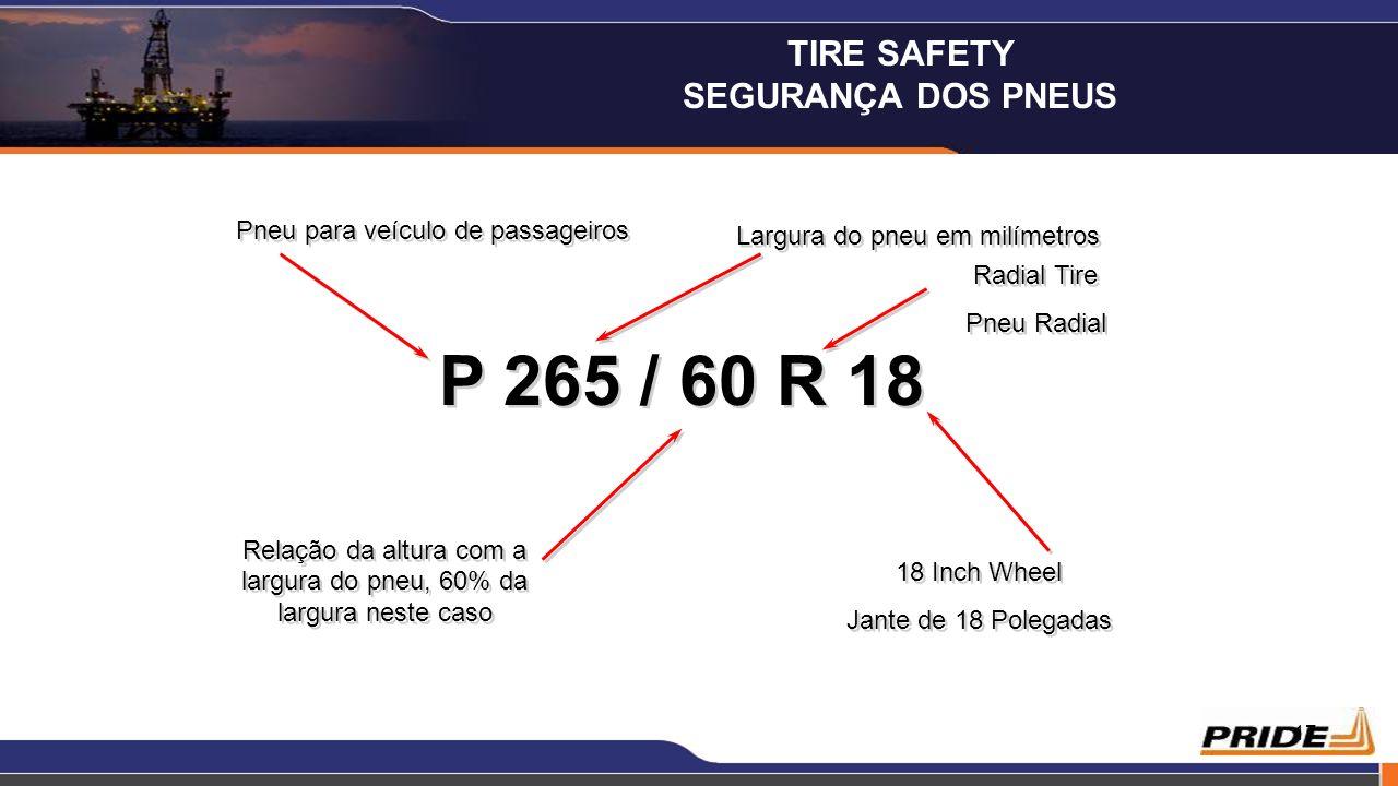 P 265 / 60 R 18 TIRE SAFETY SEGURANÇA DOS PNEUS