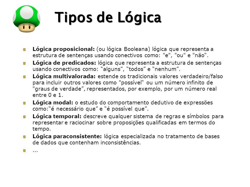 Tipos de Lógica Lógica proposicional: (ou lógica Booleana) lógica que representa a estrutura de sentenças usando conectivos como: e , ou e não .