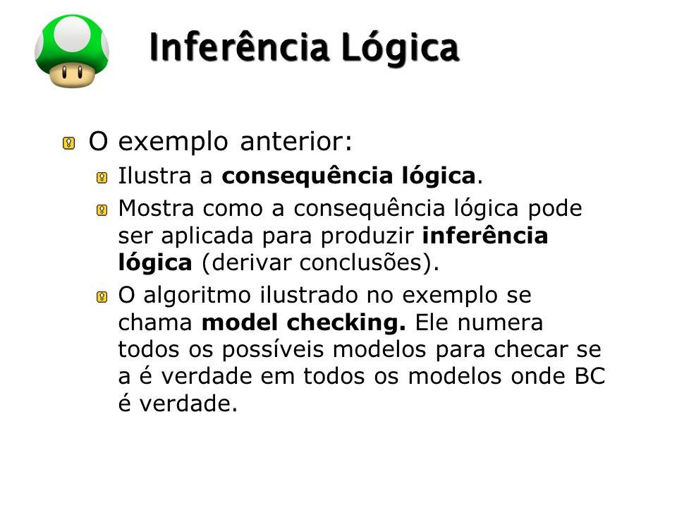 Inferência Lógica O exemplo anterior: Ilustra a consequência lógica.