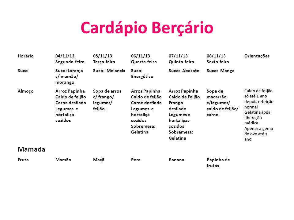 Cardápio Berçário Mamada Horário 04/11/13 Segunda-feira