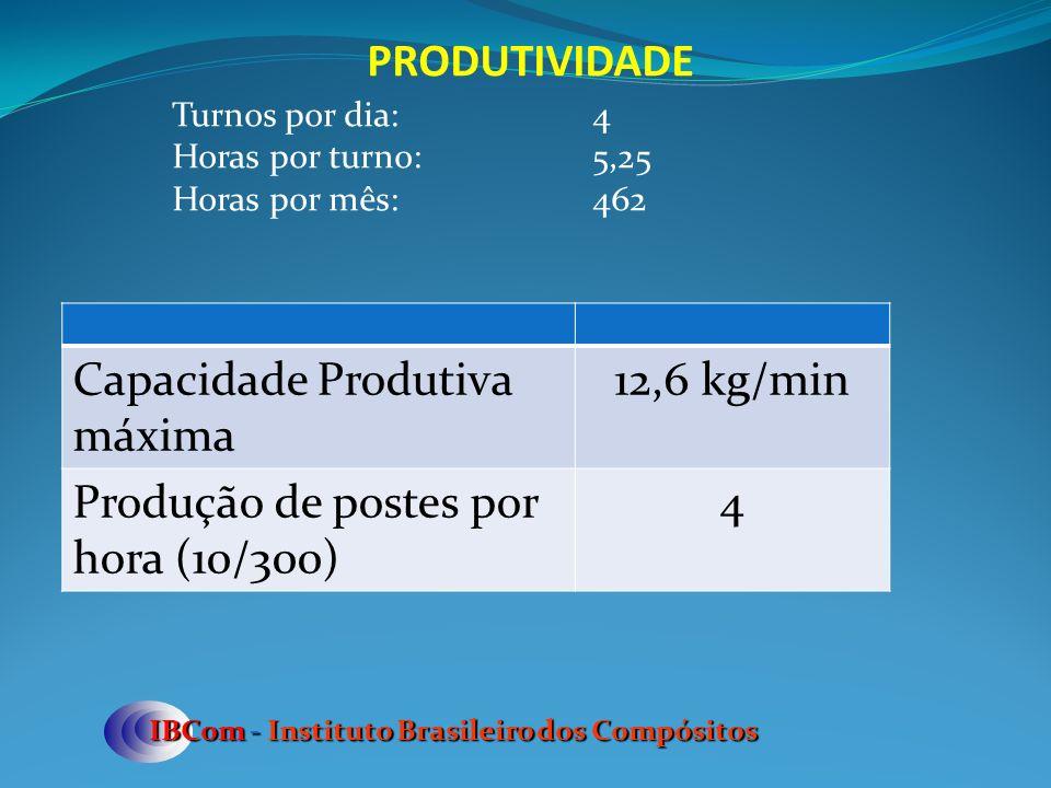 Capacidade Produtiva máxima 12,6 kg/min