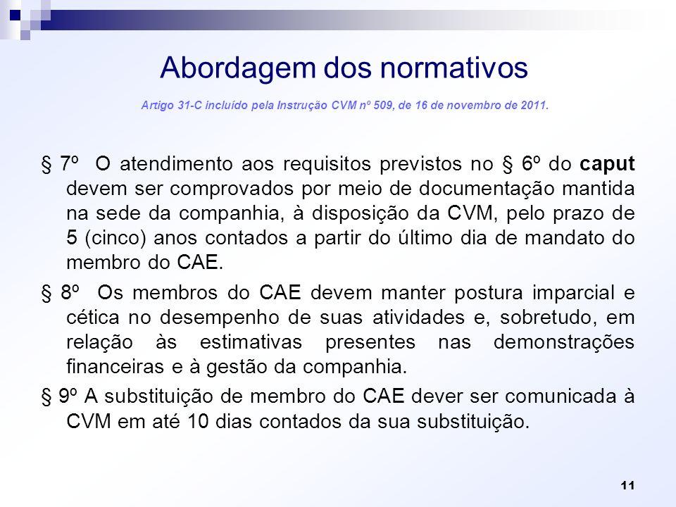 Abordagem dos normativos Artigo 31-C incluído pela Instrução CVM nº 509, de 16 de novembro de 2011.