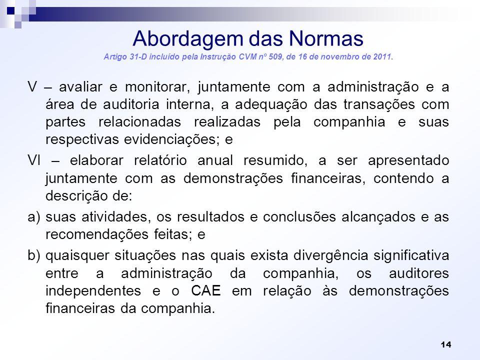 Abordagem das Normas Artigo 31-D incluído pela Instrução CVM nº 509, de 16 de novembro de 2011.