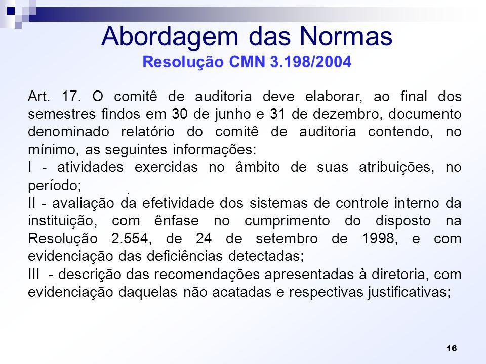 Abordagem das Normas Resolução CMN 3.198/2004