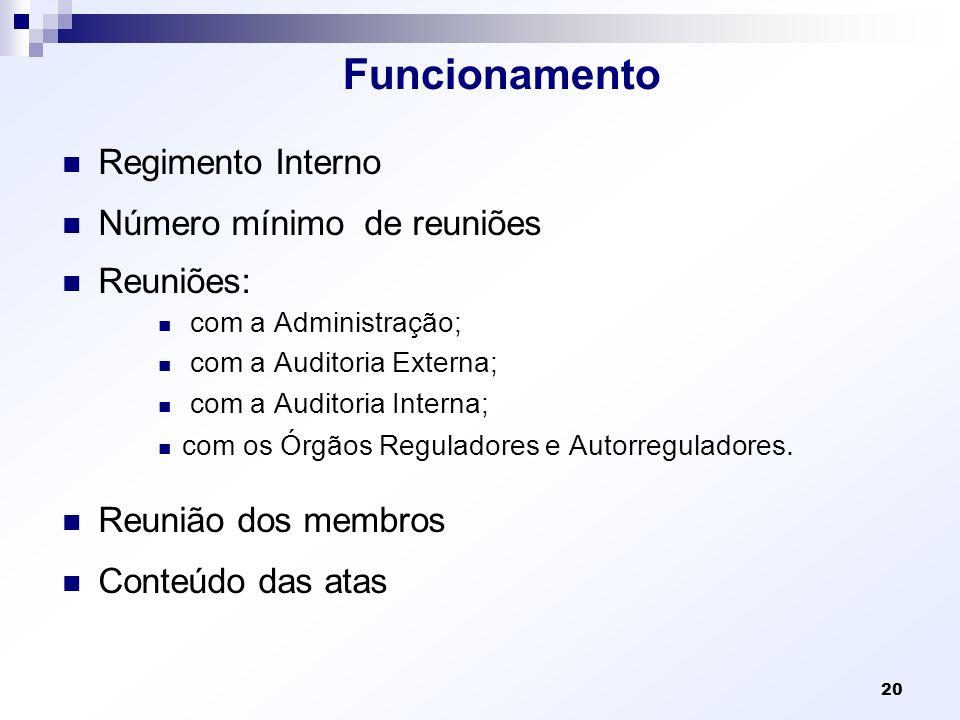 Funcionamento Regimento Interno Número mínimo de reuniões Reuniões: