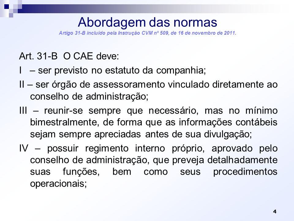 Abordagem das normas Artigo 31-B incluído pela Instrução CVM nº 509, de 16 de novembro de 2011.