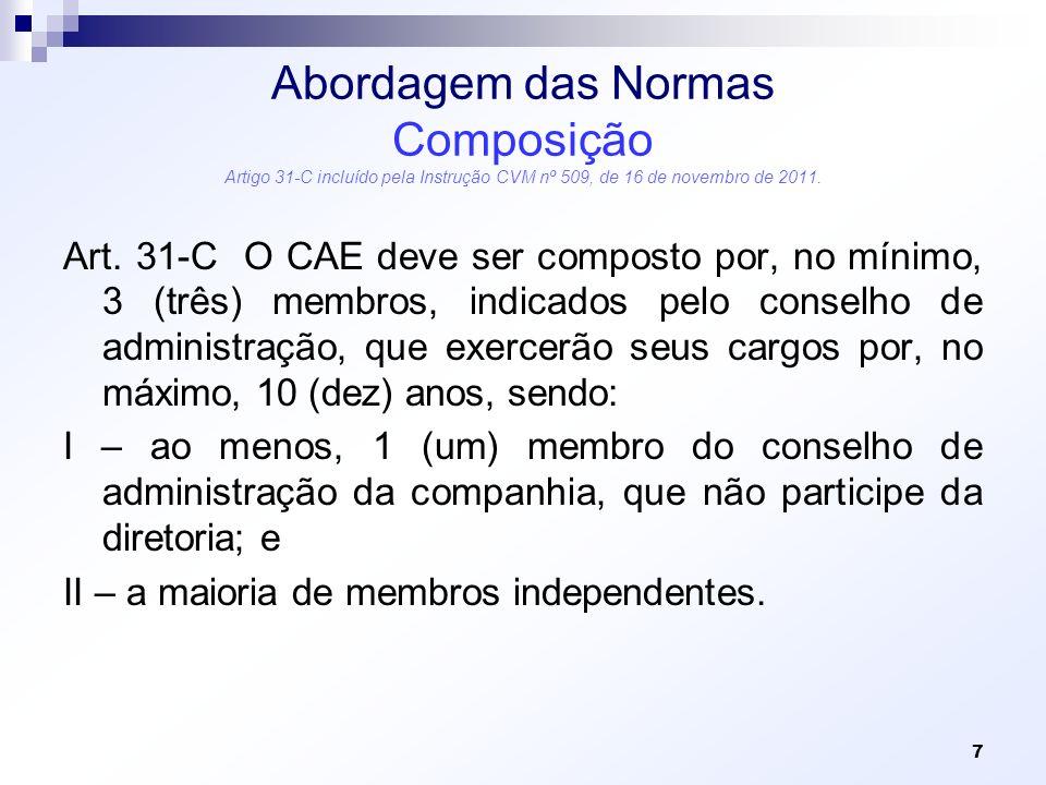 Abordagem das Normas Composição Artigo 31-C incluído pela Instrução CVM nº 509, de 16 de novembro de 2011.