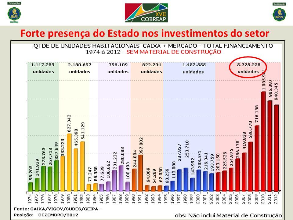 Forte presença do Estado nos investimentos do setor