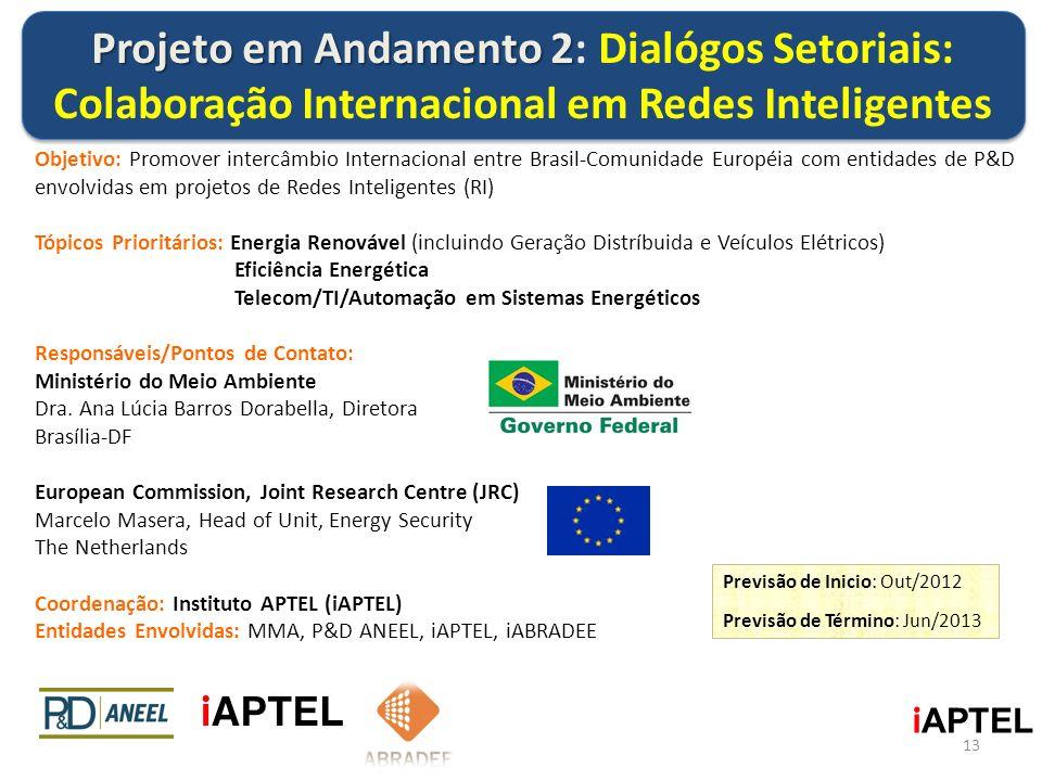 Projeto em Andamento 2: Dialógos Setoriais: Colaboração Internacional em Redes Inteligentes