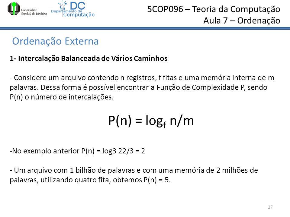 P(n) = logf n/m Ordenação Externa