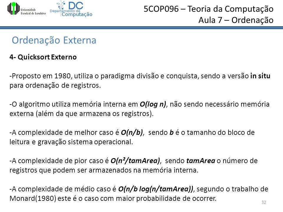 Ordenação Externa 4- Quicksort Externo