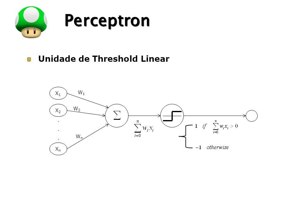 Perceptron Unidade de Threshold Linear X1 X2 Xn . W1 W2 Wn