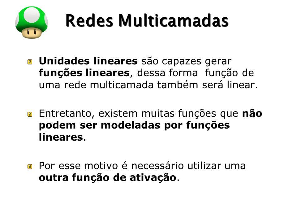 Redes Multicamadas Unidades lineares são capazes gerar funções lineares, dessa forma função de uma rede multicamada também será linear.