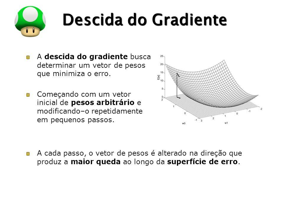 Descida do Gradiente A descida do gradiente busca determinar um vetor de pesos que minimiza o erro.