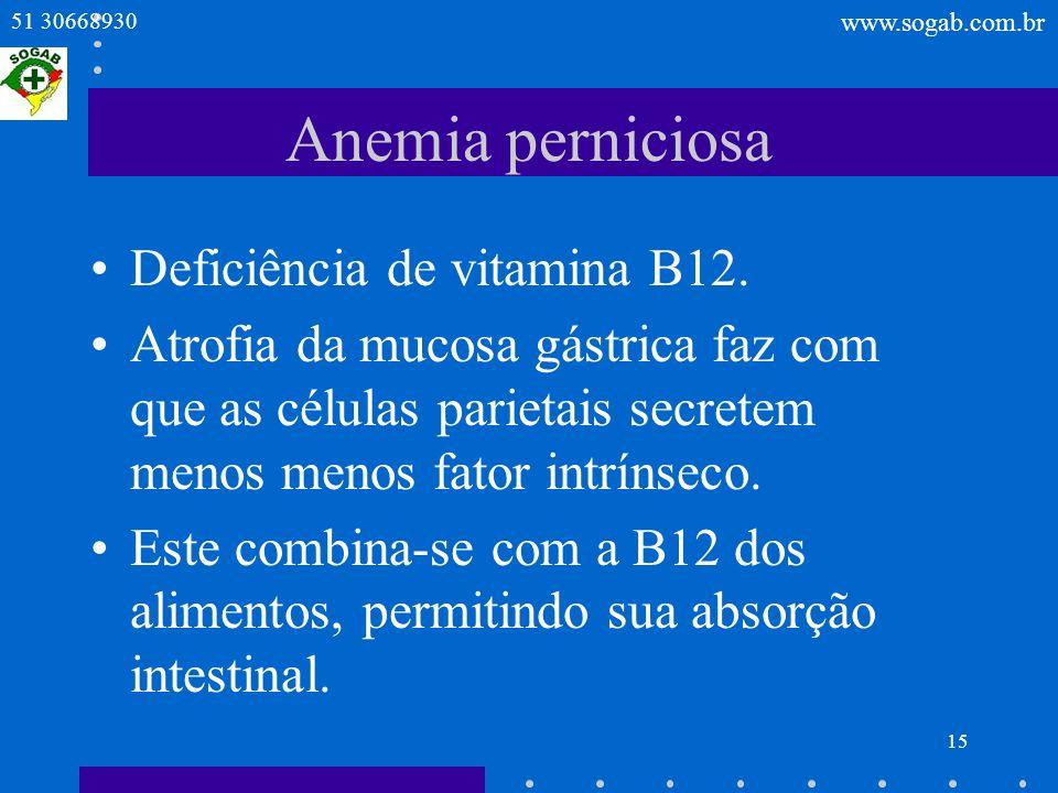 Anemia perniciosa Deficiência de vitamina B12.