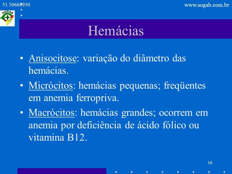 Hemácias Anisocitose: variação do diâmetro das hemácias.