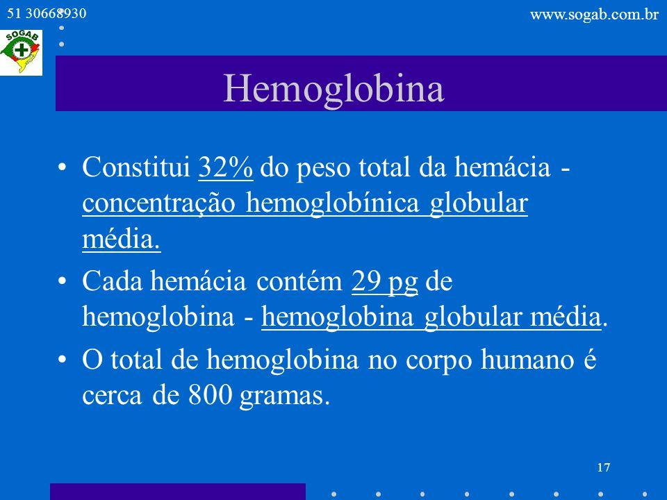 HemoglobinaConstitui 32% do peso total da hemácia - concentração hemoglobínica globular média.