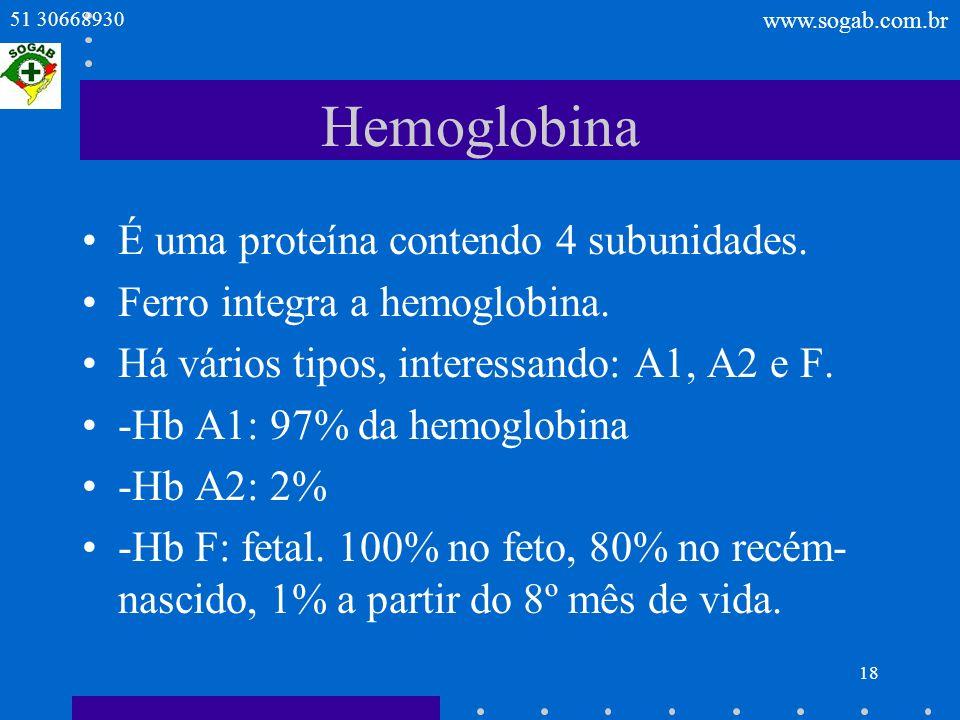 Hemoglobina É uma proteína contendo 4 subunidades.