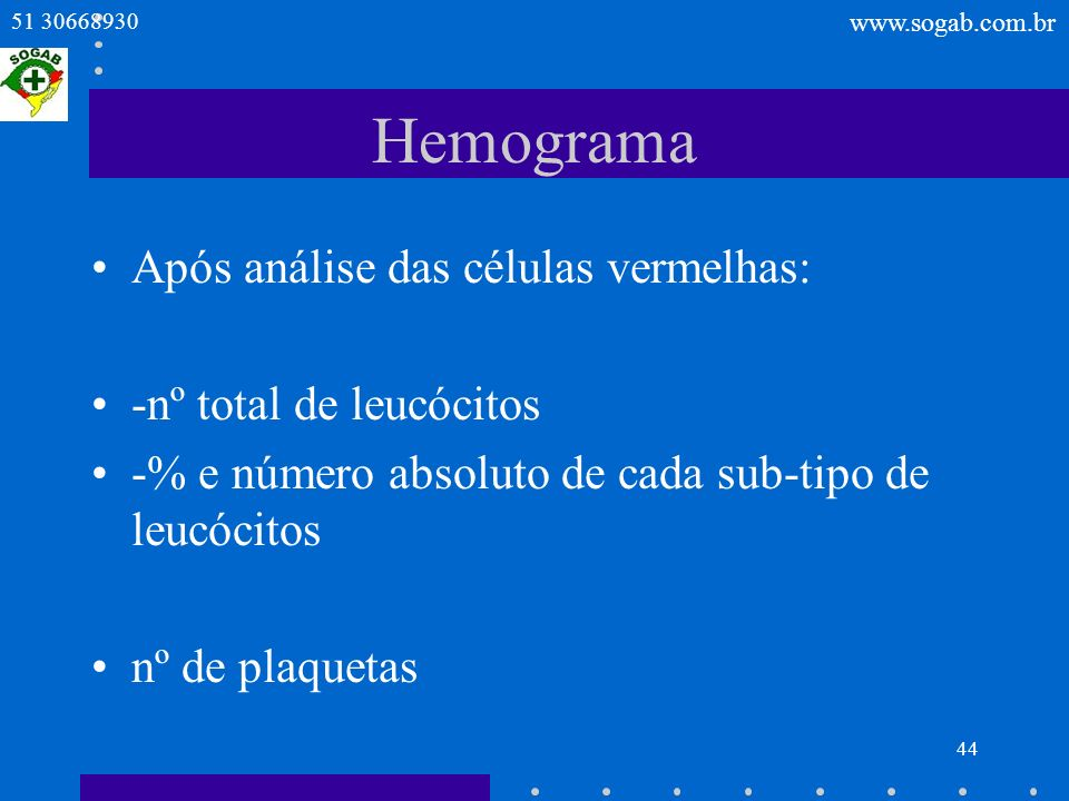 Hemograma Após análise das células vermelhas: -nº total de leucócitos