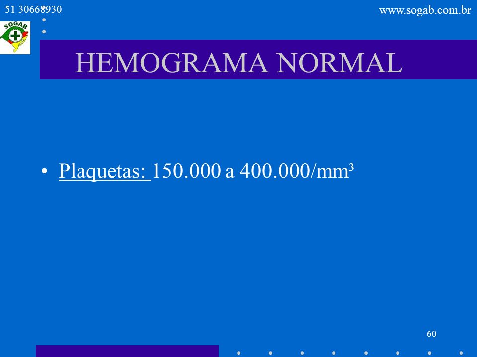 HEMOGRAMA NORMAL Plaquetas: 150.000 a 400.000/mm³