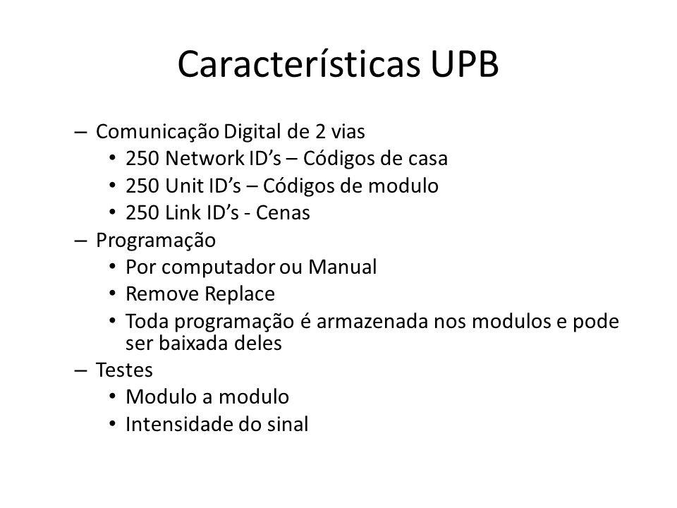 Características UPB Comunicação Digital de 2 vias