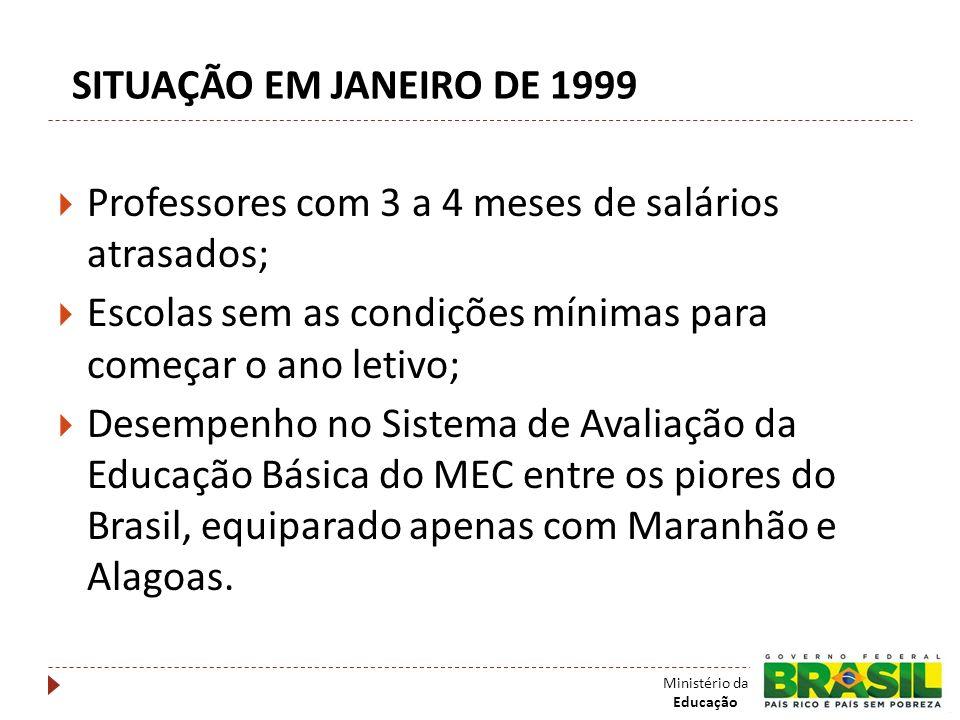 SITUAÇÃO EM JANEIRO DE 1999 Professores com 3 a 4 meses de salários atrasados; Escolas sem as condições mínimas para começar o ano letivo;