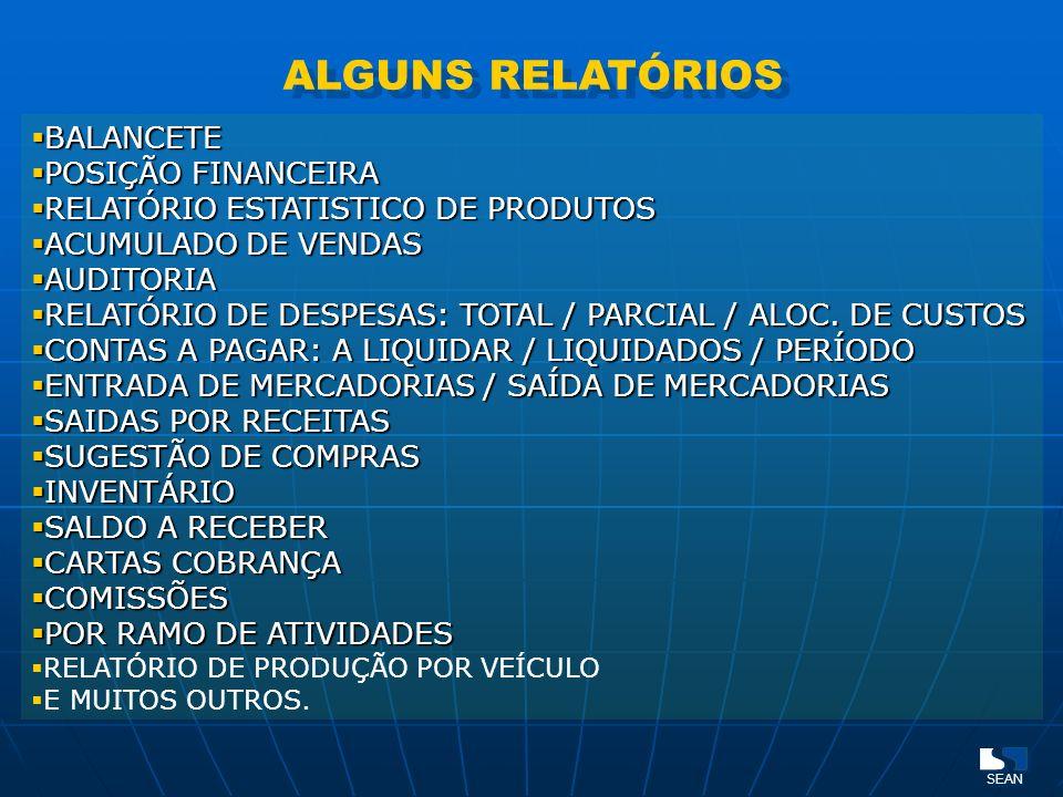 ALGUNS RELATÓRIOS BALANCETE POSIÇÃO FINANCEIRA