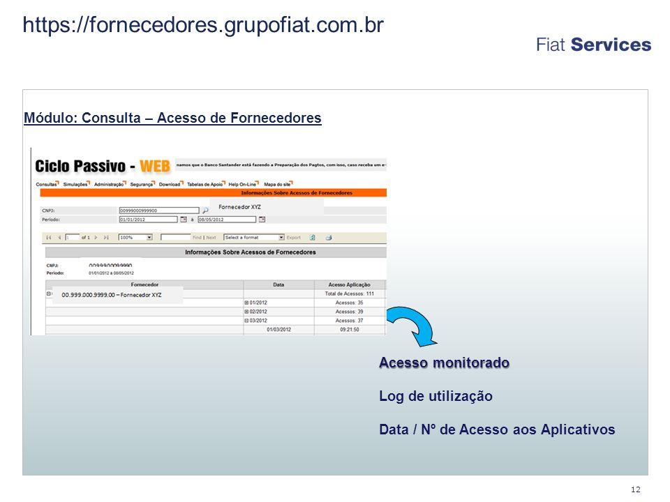https://fornecedores.grupofiat.com.br Módulo: Consulta – Acesso de Fornecedores. Acesso monitorado.