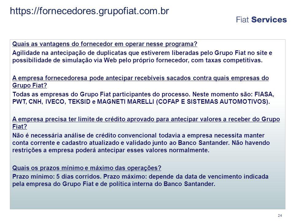 https://fornecedores.grupofiat.com.br Quais as vantagens do fornecedor em operar nesse programa