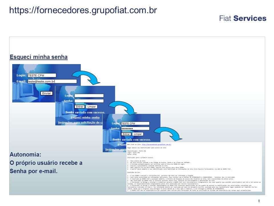 https://fornecedores.grupofiat.com.br Esqueci minha senha Troca de Autonomia: O próprio usuário recebe a Senha por e-mail.