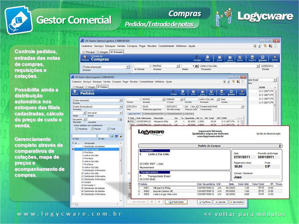 Gestor Comercial Compras Pedidos/Entrada de notas www.logycware.com.br
