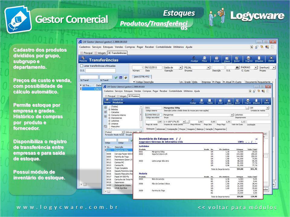Gestor Comercial Estoques Produtos/Transferênci as