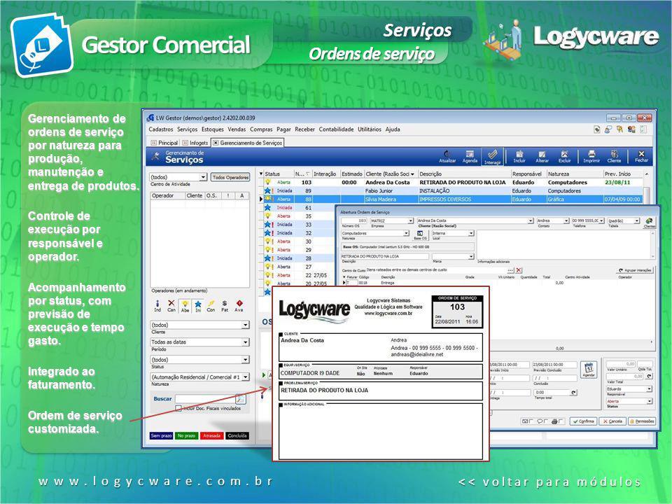 Gestor Comercial Serviços Ordens de serviço www.logycware.com.br