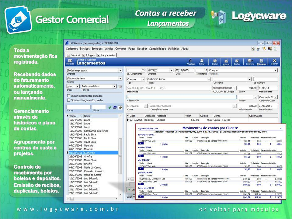 Gestor Comercial Contas a receber Lançamentos www.logycware.com.br