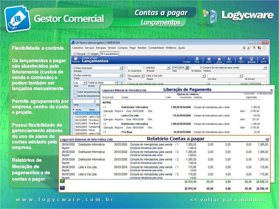 Gestor Comercial Contas a pagar Lançamentos www.logycware.com.br