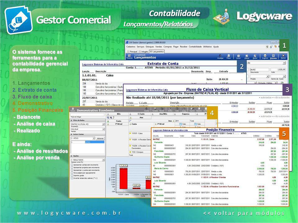 Gestor Comercial Contabilidade Lançamentos/Relatórios 1 2 3 4 5