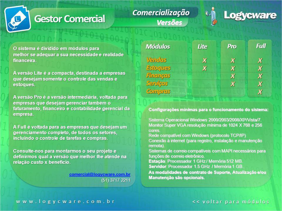 Gestor Comercial Comercialização Versões Módulos Lite Pro Full Vendas