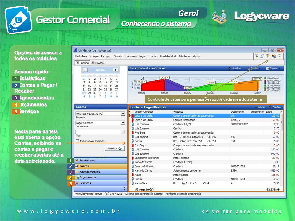 Gestor Comercial Geral Conhecendo o sistema www.logycware.com.br