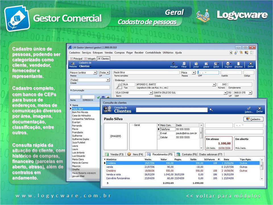 Gestor Comercial Geral Cadastro de pessoas www.logycware.com.br
