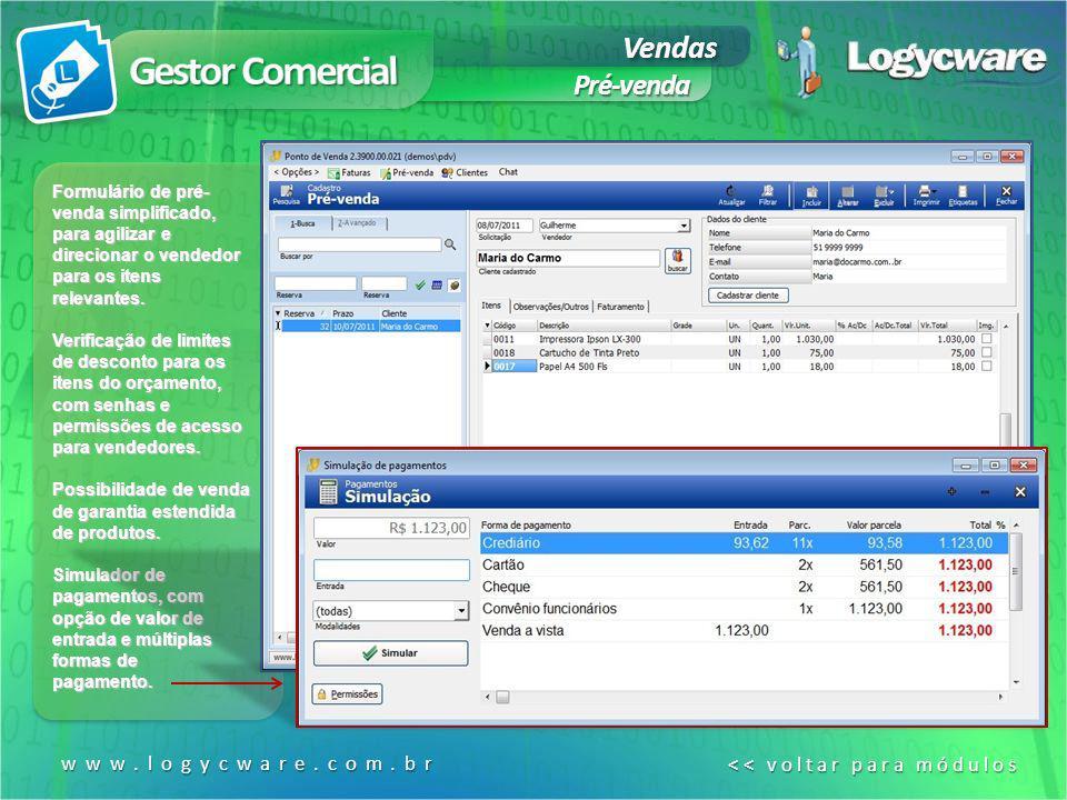 Gestor Comercial Vendas Pré-venda www.logycware.com.br
