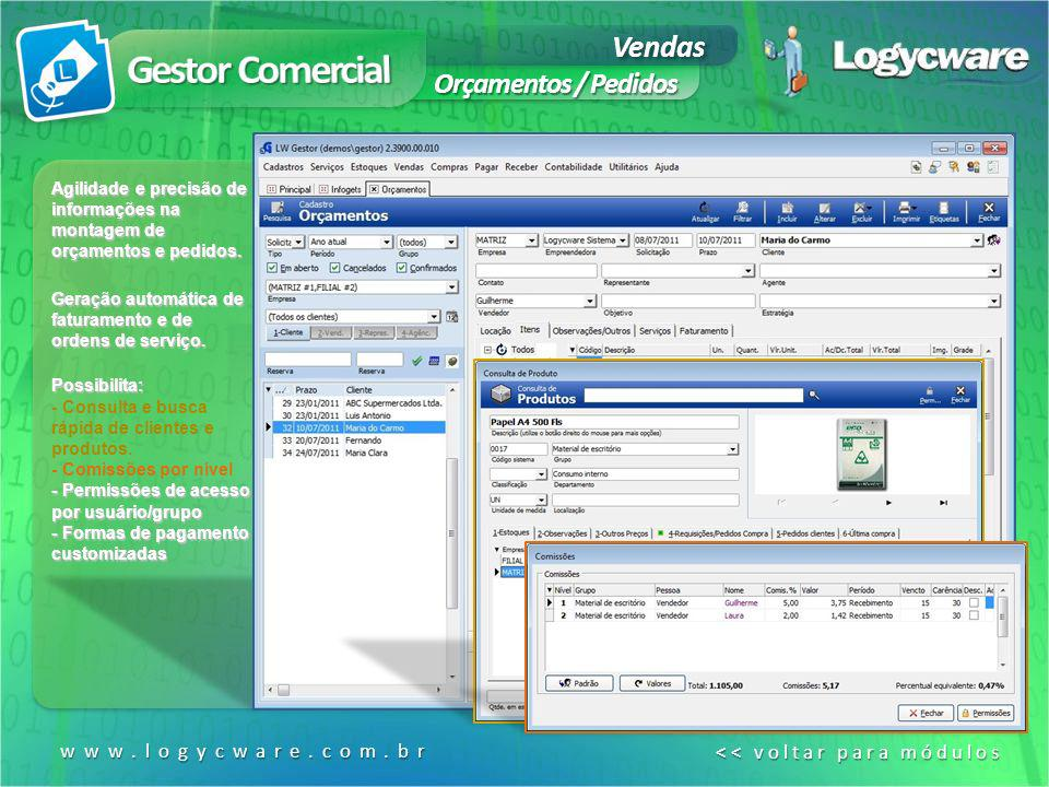 Gestor Comercial Vendas Orçamentos / Pedidos www.logycware.com.br