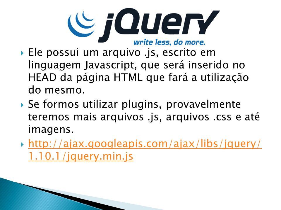 Ele possui um arquivo .js, escrito em linguagem Javascript, que será inserido no HEAD da página HTML que fará a utilização do mesmo.