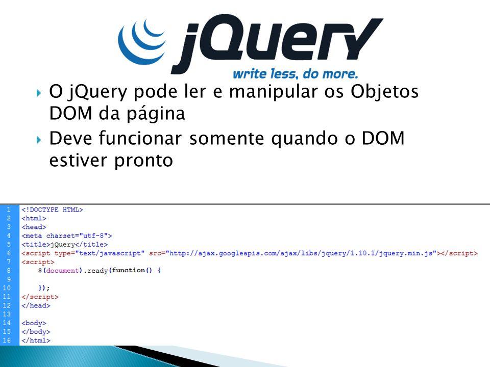 O jQuery pode ler e manipular os Objetos DOM da página