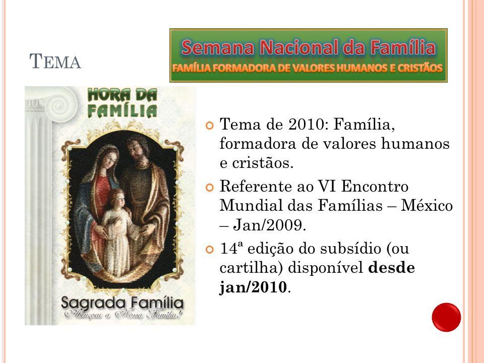 Tema Tema de 2010: Família, formadora de valores humanos e cristãos.