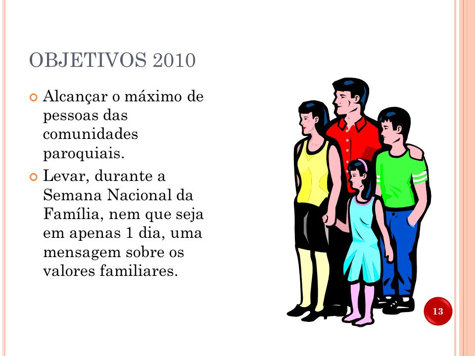 OBJETIVOS 2010 Alcançar o máximo de pessoas das comunidades paroquiais.