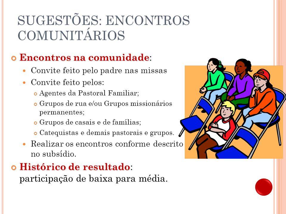 SUGESTÕES: ENCONTROS COMUNITÁRIOS